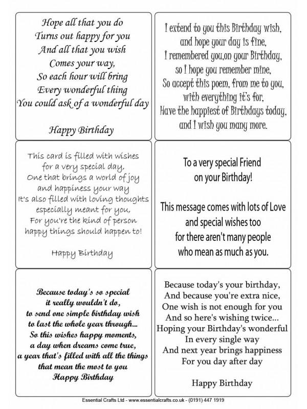 Easy Peel Birthday Verses 1 No Images
