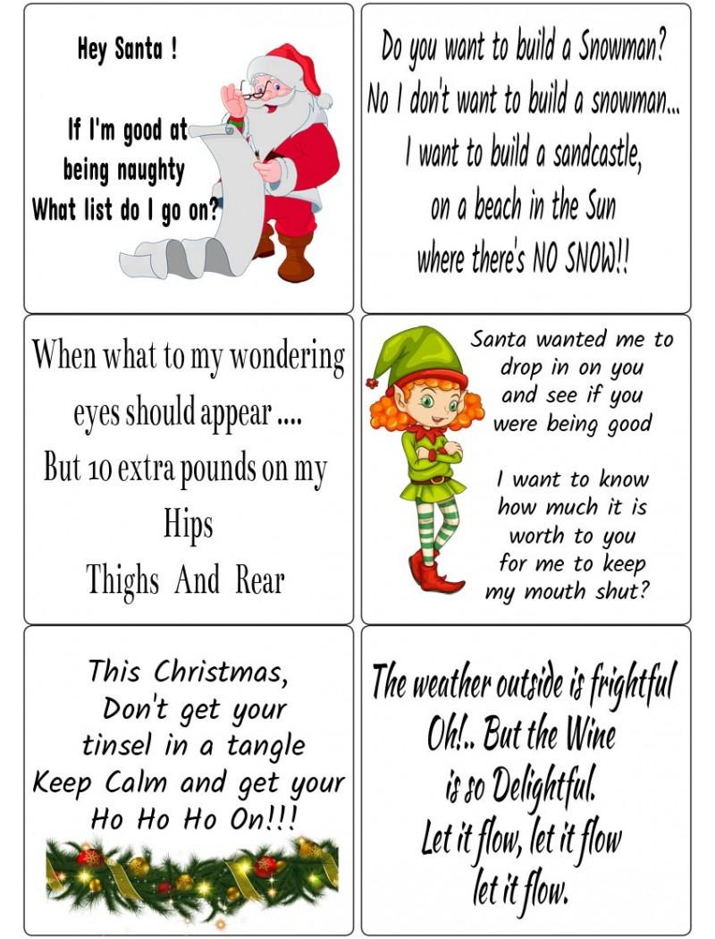 Humorous Quotes: Easy Peel Self Adhesive Christmas Verses Set 3