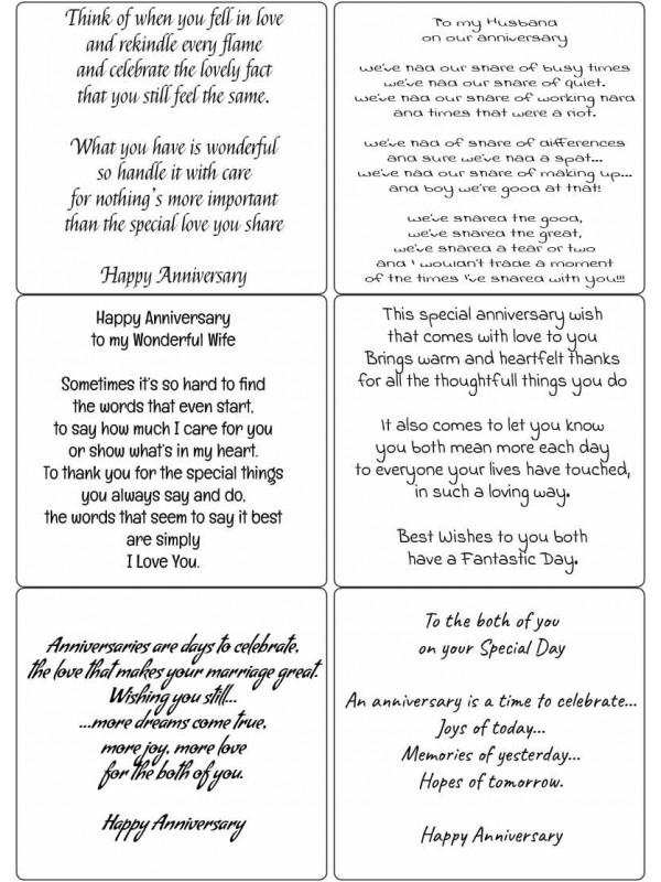 Easy Peel Happy Anniversary Verses